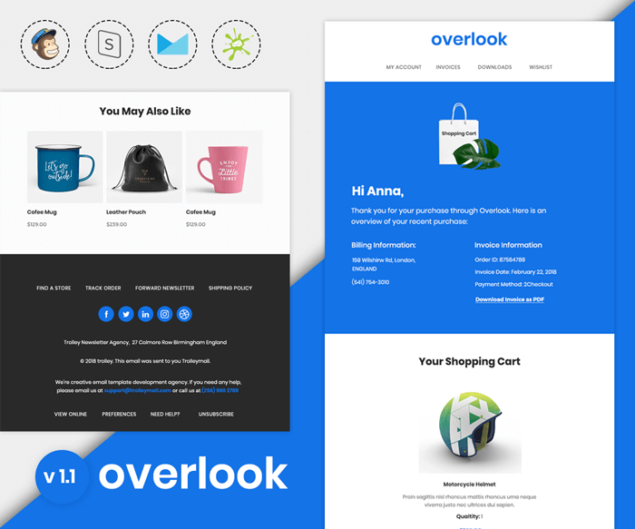 Overlook v1 1 - Responsive Purchase Confirmation Email Template -  Mailerstock