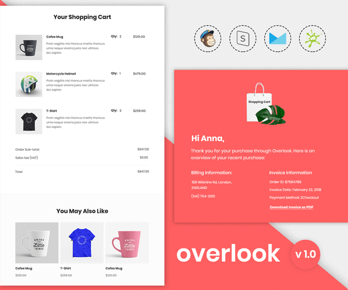 Overlook - Responsive Purchase confirmation email template preview