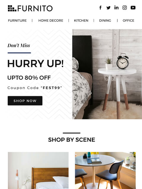 Furniture shop email template for brand promotions